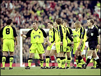 Sheffield United players walk off the pitch against Arsenal