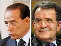 Silvio Berlusconi (left) and Romano Prodi