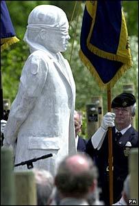 The Shot at Dawn memorial, modelled on Private Herbert Burden