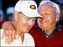 Jack Nicklaus (left) and Arnold Palmer (right)