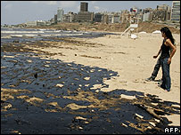 Ramlet el-Baida public beach, White Beach, in Beirut covered in oil on 29 July 2006