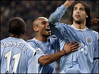 Darius Vassell, Trevor Sinclair and Georgios Samaras of Manchester City
