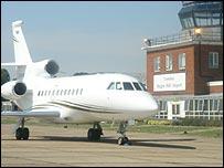 Private jet leaving Biggin Hill airport