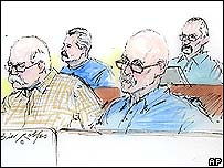 Courtroom sketch of the accused, Tyler Davis Bingham (l), Christopher Overton Gibson and Barry Mills (back left) and Edgar Hevle