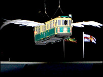 Flying Melbourne tram