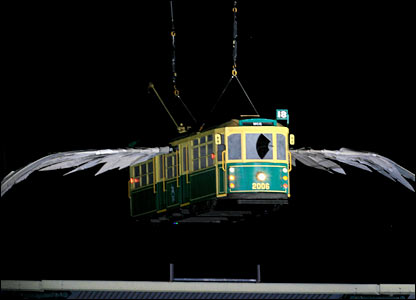 A flying tram enters Melbourne Cricket Stadium