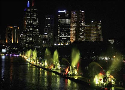 Metal fishes illuminate the Yarra River