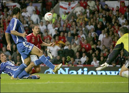 Frank Lampard scores England's second goal