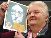 Viv Date with John Lennon autograph