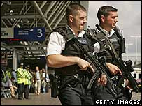 Armed officers at Heathrow Airport