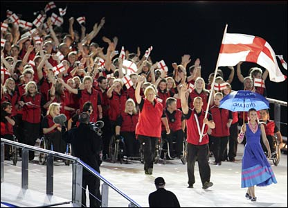 England athletes wave to the crowd