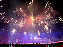 Fireworks light up the sky above the Melbourne Cricket Ground