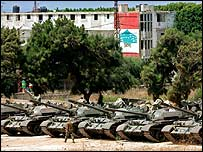 Tanks at a Lebanese army base near Beirut on 16 August