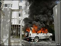 Burning car at Gaza office of the British Council