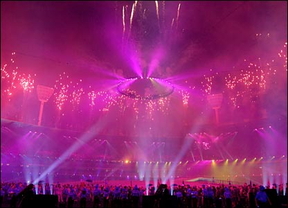Lots of pink fireworks light up the stadium