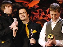 Kaiser Chiefs with their Brit award for Best British Group