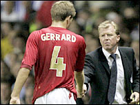 Steven Gerrard shakes hands with England boss Steve McClaren