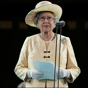 Her Majesty Queen Elizabeth II reads out her message