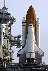 Space shuttle Atlantis on launch pad  Image: AP