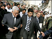 Palestinian leader Mahmoud Abbas at the damaged prison in Jericho