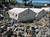 Unicef tents amid rubble in northern Pakistan