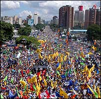 Opposition supporters fill central Caracas