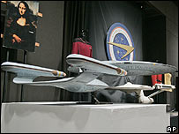 Miniature model of the Enterprise-D at Christie's auction house, New York