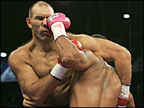 Russia's Nikolai Valuev stopped American Monte Barrett in the 11th round