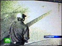 CCTV image of the suspected killer broadcast by Russia's NTV channel