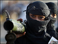 A masked Shia Mehdi Army militiaman (archive image)