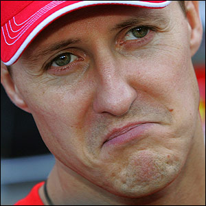 Michael Schumacher in the pit lane towards the end of the Japanese Grand Prix