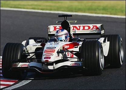 Jenson Button's Honda on its way to fourth place in the Japanese Grand Prix