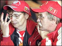 Schumacher fans react to Schumacher's engine failure