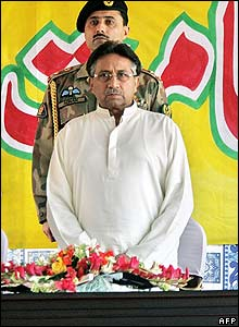Pakistan's President Pervez Musharraf in Muzaffarabad, the capital of Pakistan-administered Kashmir