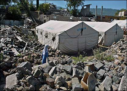 Tents pitched amid the rubble in Chikar, south of Muzaffarabad