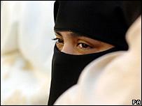 A Muslim woman wearing a veil