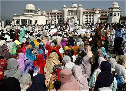 Earthquake survivors protest in front of the prime minister's building in Islamabad, Pakistan