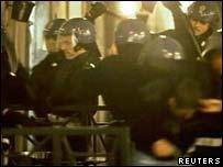 Italian police with batons