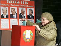Woman votes in Belarus
