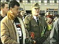 Мероприятие в память легионеров СС в Латвии (кадр из фильма 'Нацизм по-прибалтийски')