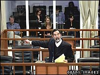 Saddam Hussein at his trial