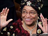 Liberian President Ellen Johnson-Sirleaf waves to US congress