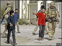 British soldiers on patrol in Basra, southern Iraq