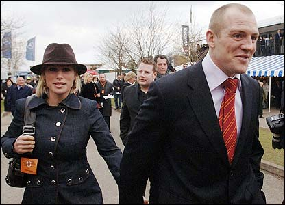 Zara Phillips arrives with Mike Tindall
