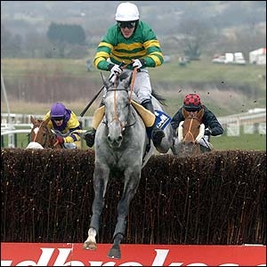 Tony McCoy and Reveillez clear the last on the way to winning the Jewson Novices' Handicap Chase