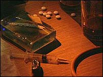 Heroin addict's paraphernalia