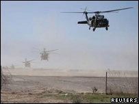 US helicopters take off for an air offensive near the Iraqi city of Samarra