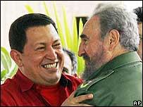 Venezuela's Hugo Chavez and Cuba's Fidel Castro