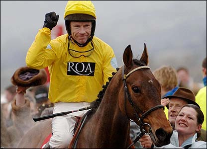 Mick Fitzgerald celebrates his second win of the day on Non So