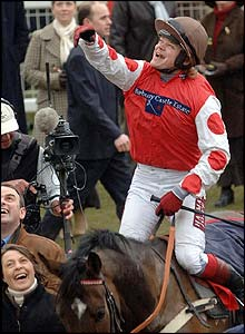 Robert Thornton celebrates his victory in the World Hurdle